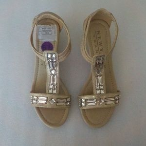 N.Y. Transit Tan Sandals with Large Rhinestones